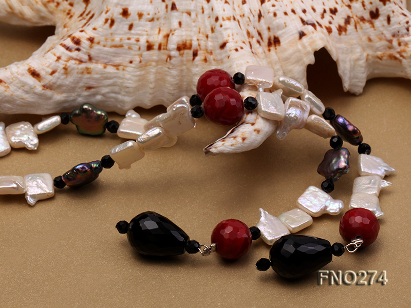 9x14mm white biwa pearl and coffee rhombus pearl and some agate opera necklace big Image 5