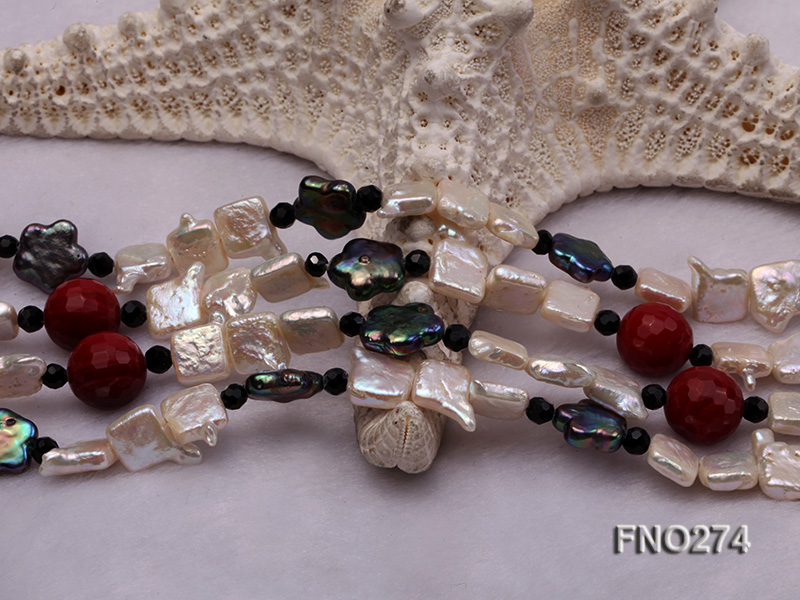 9x14mm white biwa pearl and coffee rhombus pearl and some agate opera necklace big Image 6