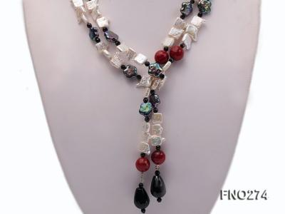 9x14mm white biwa pearl and coffee rhombus pearl and some agate opera necklace FNO274 Image 3