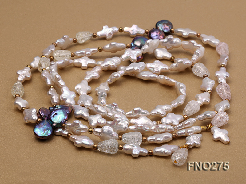 9x14mm white biwa pearl and coffee rhombus pearl and some crystal necklace big Image 5