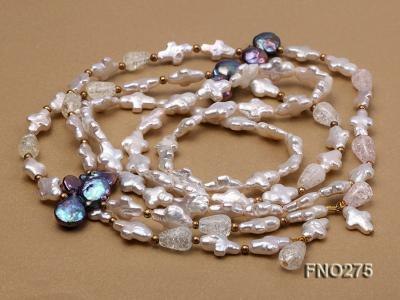 9x14mm white biwa pearl and coffee rhombus pearl and some crystal necklace FNO275 Image 5
