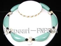 Single-strand Cyan Jade Lunes, Black Agate Beads and Seashell Pieces necklace FNF584