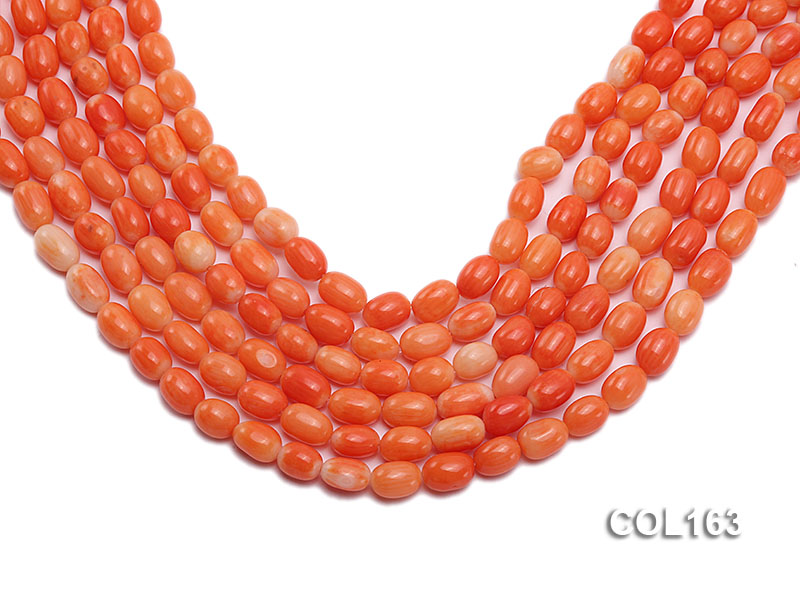 Wholesale 6-8mm Rice-shaped Pink Coral Beads Loose String big Image 1