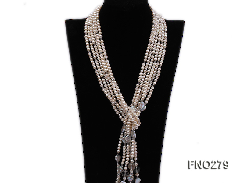 6-7mm white round FW pearl and faceted crystal and heard-shaped coin pearl opera necklace big Image 1