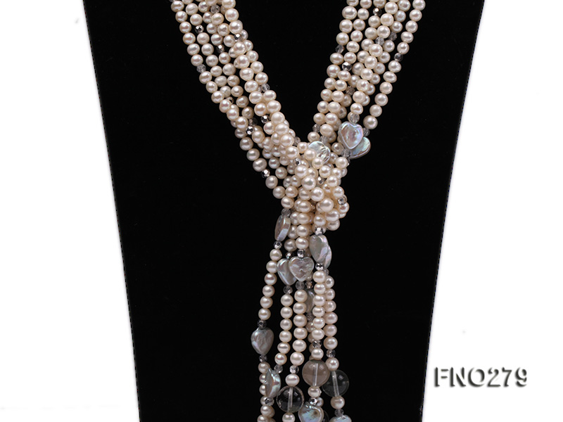 6-7mm white round FW pearl and faceted crystal and heard-shaped coin pearl opera necklace big Image 2
