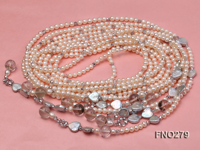 6-7mm white round FW pearl and faceted crystal and heard-shaped coin pearl opera necklace big Image 3