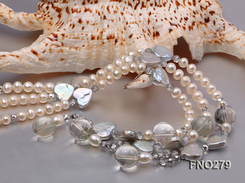 6-7mm white round FW pearl and faceted crystal and heard-shaped coin pearl opera necklace big Image 5