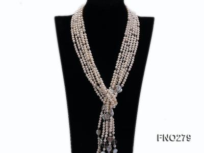 6-7mm white round FW pearl and faceted crystal and heard-shaped coin pearl opera necklace FNO279 Image 1