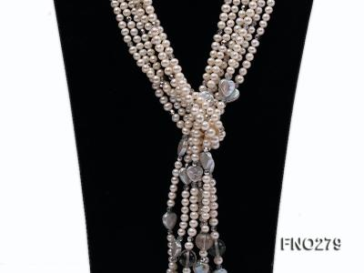6-7mm white round FW pearl and faceted crystal and heard-shaped coin pearl opera necklace FNO279 Image 2