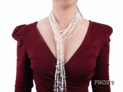 6-7mm white round FW pearl and faceted crystal and heard-shaped coin pearl opera necklace FNO279 Image 6