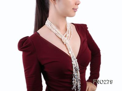 6-7mm white round FW pearl and faceted crystal and heard-shaped coin pearl opera necklace FNO279 Image 7