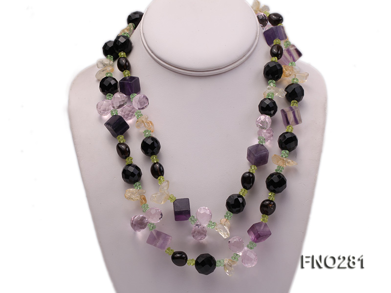 12-16mm black faceted agate  tea crystal and fluorite opera necklace big Image 1