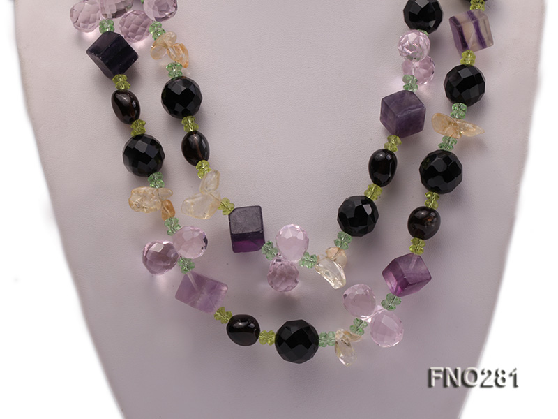 12-16mm black faceted agate  tea crystal and fluorite opera necklace big Image 2