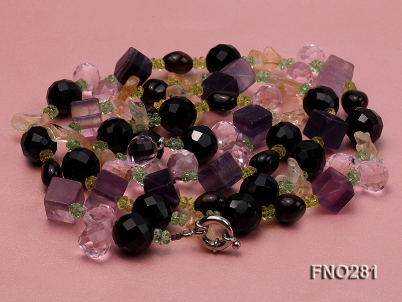 12-16mm black faceted agate  tea crystal and fluorite opera necklace big Image 3