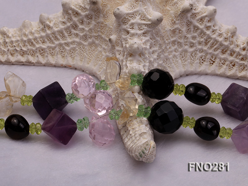 12-16mm black faceted agate  tea crystal and fluorite opera necklace big Image 5