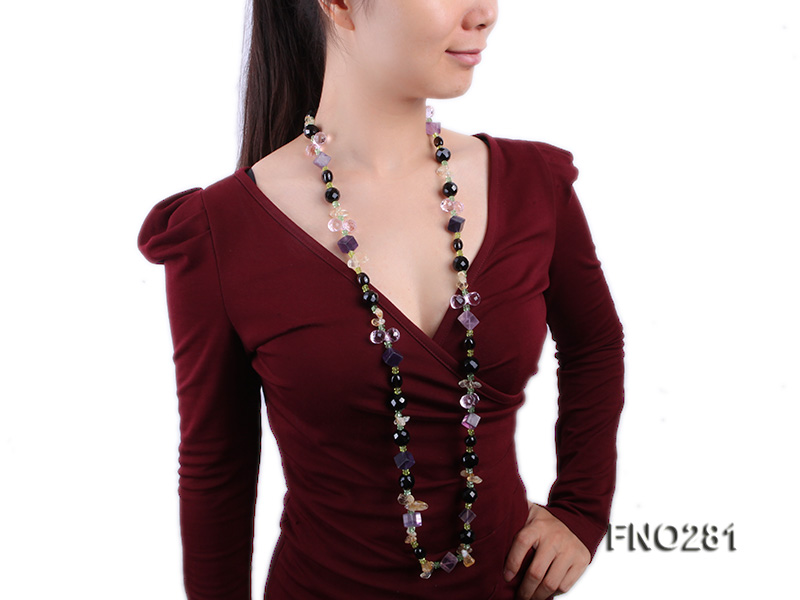 12-16mm black faceted agate  tea crystal and fluorite opera necklace big Image 7