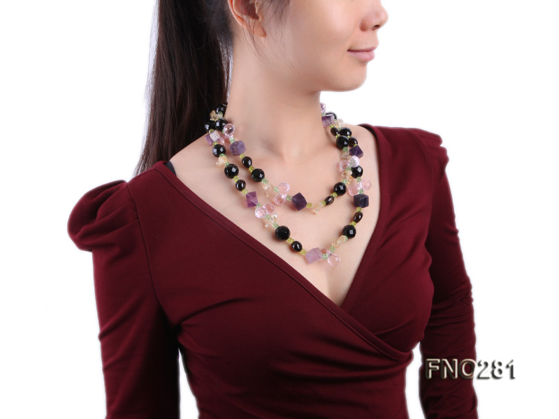 12-16mm black faceted agate  tea crystal and fluorite opera necklace big Image 9