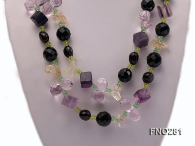 12-16mm black faceted agate  tea crystal and fluorite opera necklace FNO281 Image 2