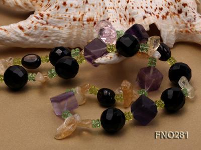12-16mm black faceted agate  tea crystal and fluorite opera necklace FNO281 Image 4