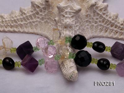 12-16mm black faceted agate  tea crystal and fluorite opera necklace FNO281 Image 5