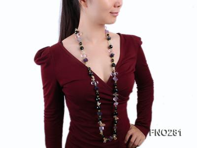 12-16mm black faceted agate  tea crystal and fluorite opera necklace FNO281 Image 7