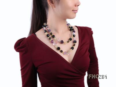 12-16mm black faceted agate  tea crystal and fluorite opera necklace FNO281 Image 9