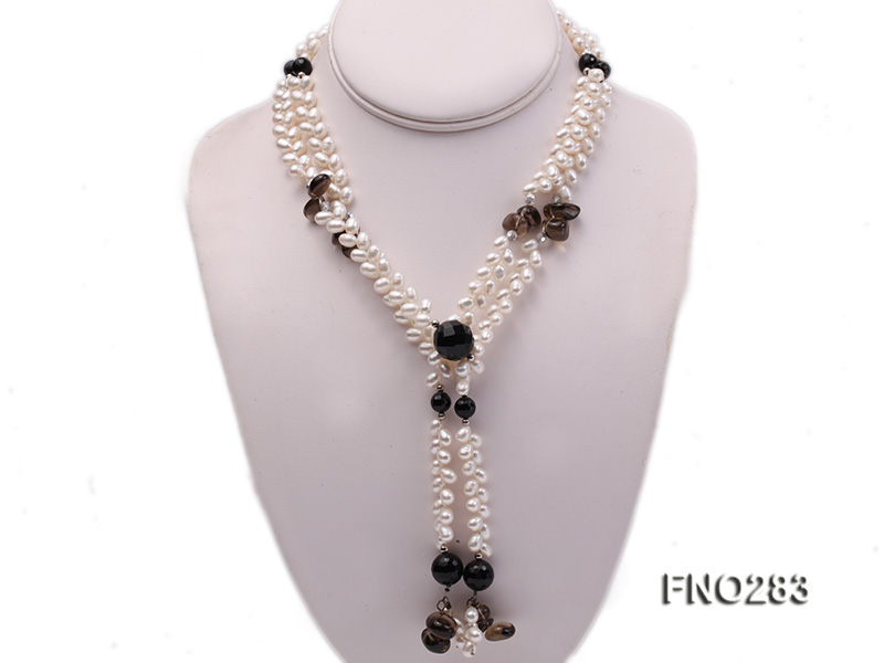 6x8mm white rice shape  pearl and black faceted agate necklace big Image 1