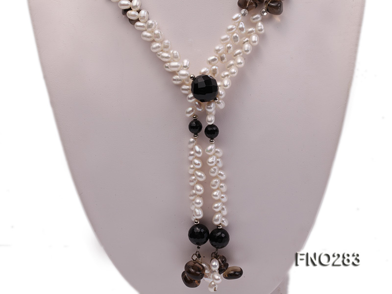 6x8mm white rice shape  pearl and black faceted agate necklace big Image 2