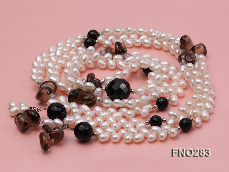 6x8mm white rice shape  pearl and black faceted agate necklace big Image 3