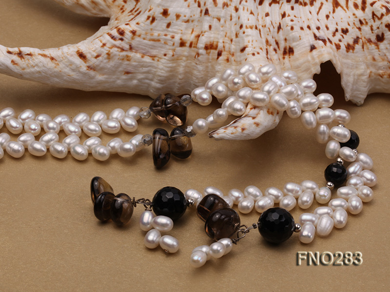 6x8mm white rice shape  pearl and black faceted agate necklace big Image 4
