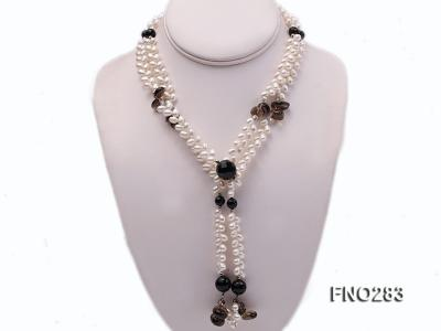 6x8mm white rice shape  pearl and black faceted agate necklace FNO283 Image 1