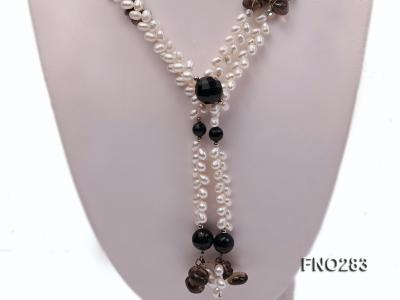 6x8mm white rice shape  pearl and black faceted agate necklace FNO283 Image 2