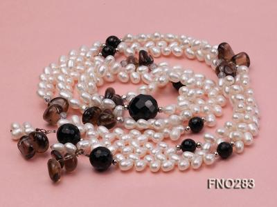 6x8mm white rice shape  pearl and black faceted agate necklace FNO283 Image 3