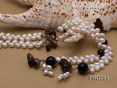 6x8mm white rice shape  pearl and black faceted agate necklace FNO283 Image 4