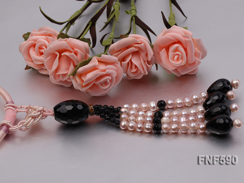 4-6mm Purple Freshwater Pearl and 8-20mm Faceted Black Agate Beads Necklace big Image 4