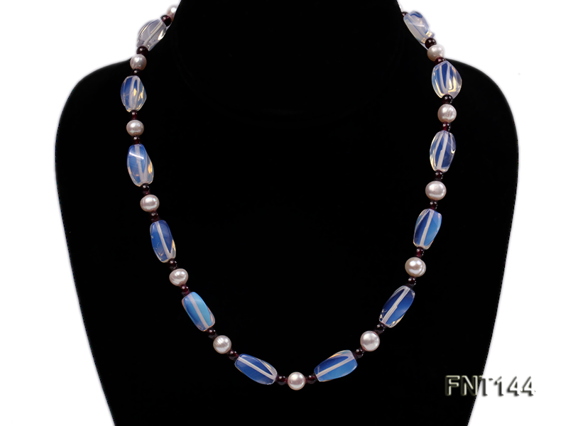 White Freshwater Pearl, Garnet Beads & Moonstone Beads Necklace and Bracelet Set big Image 2