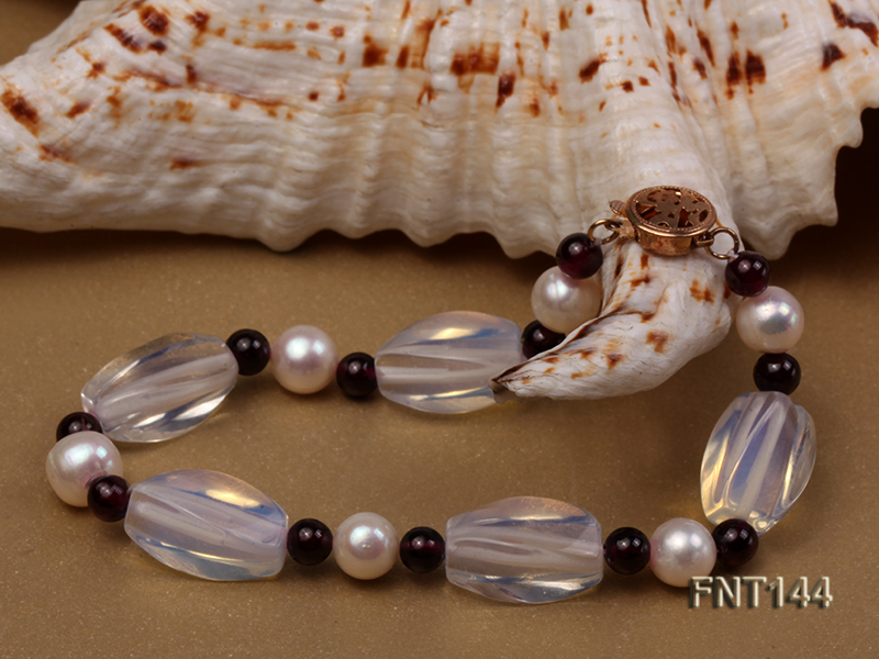 White Freshwater Pearl, Garnet Beads & Moonstone Beads Necklace and Bracelet Set big Image 5