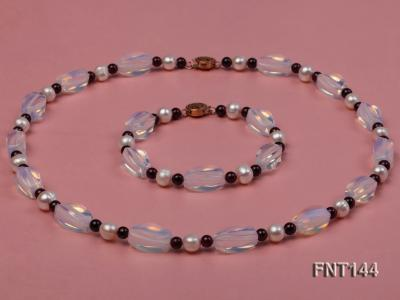White Freshwater Pearl, Garnet Beads & Moonstone Beads Necklace and Bracelet Set FNT144 Image 1