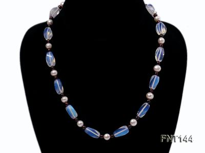 White Freshwater Pearl, Garnet Beads & Moonstone Beads Necklace and Bracelet Set FNT144 Image 2