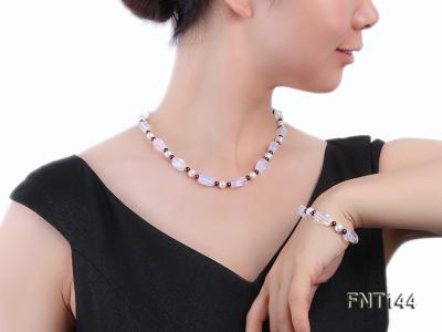 White Freshwater Pearl, Garnet Beads & Moonstone Beads Necklace and Bracelet Set FNT144 Image 7