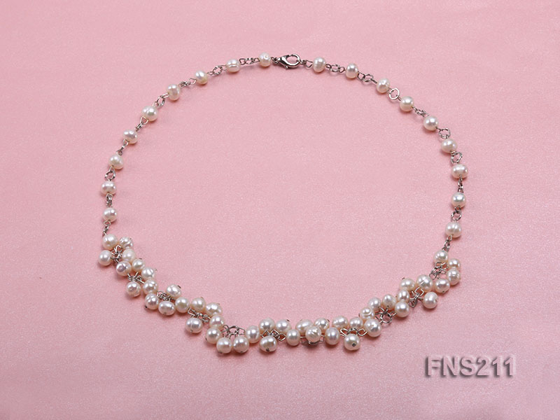 6.5mm natural round freshwater cultured pearl necklace big Image 1