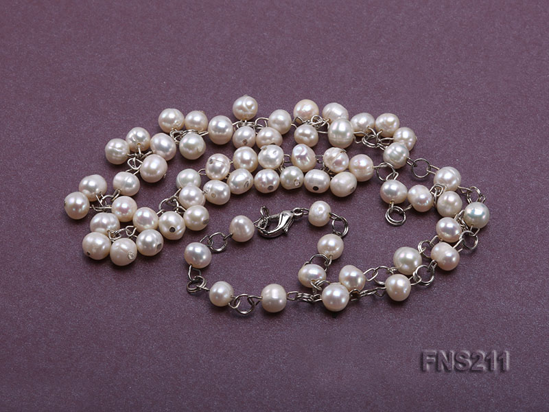 6.5mm natural round freshwater cultured pearl necklace big Image 4