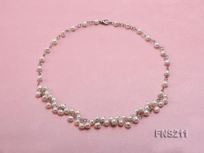6.5mm natural round freshwater cultured pearl necklace FNS211 Image 1