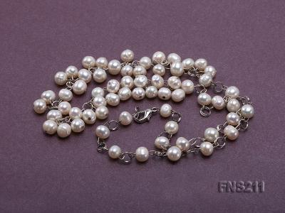 6.5mm natural round freshwater cultured pearl necklace FNS211 Image 4