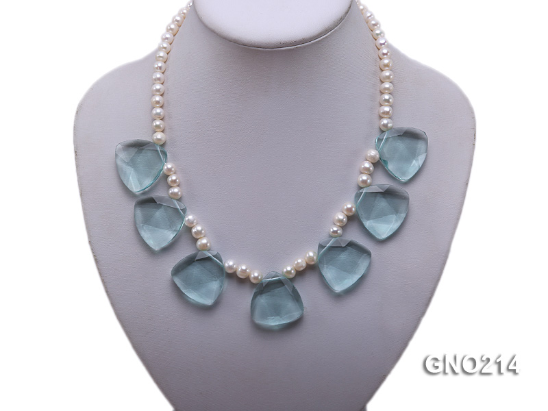 6-7mm Natural White Round Freshwater Pearl with Blue Crystal Necklace big Image 5