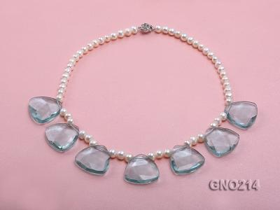 6-7mm Natural White Round Freshwater Pearl with Blue Crystal Necklace GNO214 Image 1