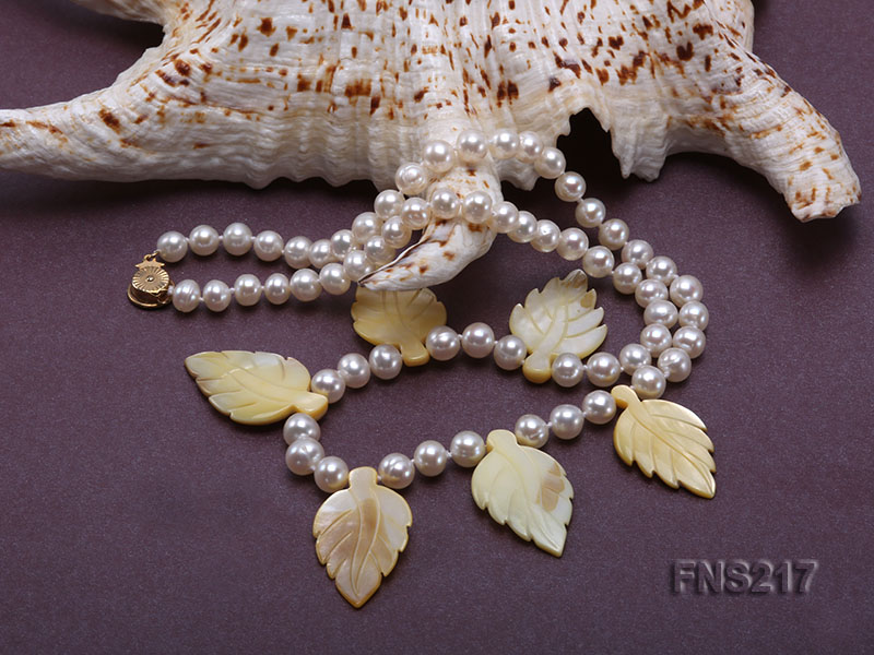 natural 6-7mm white round freshwater pearl with light yellow gemstone single strand necklace  big Image 4