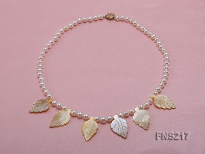 natural 6-7mm white round freshwater pearl with light yellow gemstone single strand necklace  FNS217 Image 1