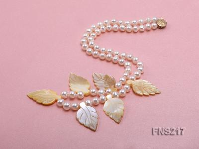 natural 6-7mm white round freshwater pearl with light yellow gemstone single strand necklace  FNS217 Image 2