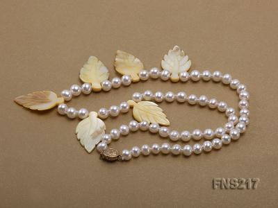 natural 6-7mm white round freshwater pearl with light yellow gemstone single strand necklace  FNS217 Image 3